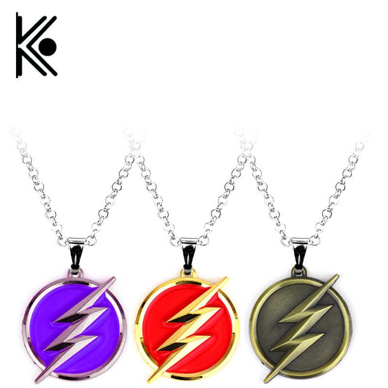 Горячие ювелирные изделия ожерелье супергероя ювелирные изделия флэш-молнии символ бусины цепь ожерелье Мода Мужчины фильм Pendan