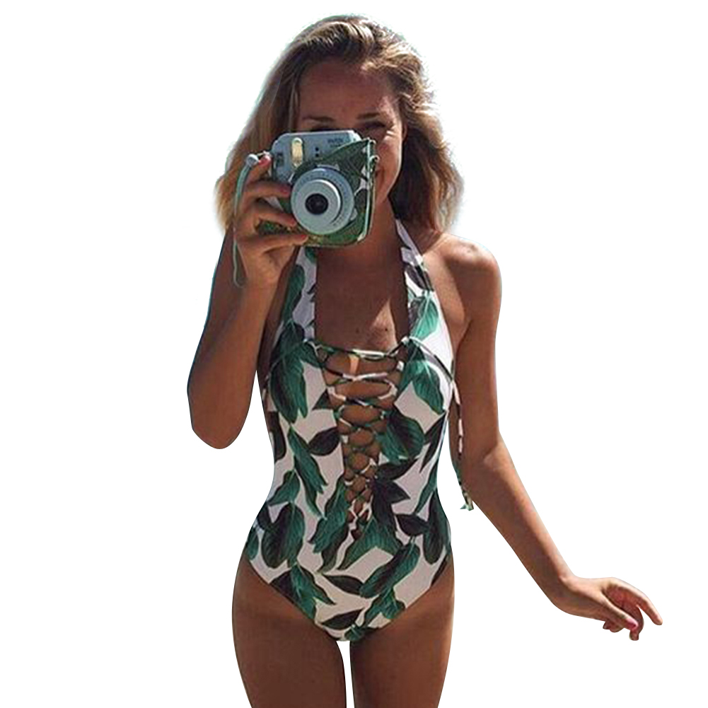 2017 Summer One Piece Swimsuit Women Sexy Swimwear Leaf Print Hollow Out Bathing Suit Bandage Bodysuit Monokini Romper Bather one piece swimsuit sexy swimwear women 2017 summer beach wear bathing suit bandage backless halter top monokini bodysuit