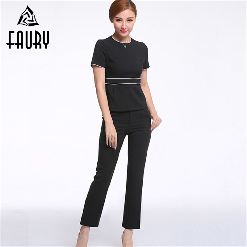 Women O-neck Short Sleeve Slim Tops Long Straight Pant Spa Sauna Shop Beauty Salon Work Wear Beautician Business Suit Uniforms