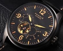 2017 Utgåva Mens Skeleton Automatiska Klockor Parnis Brand LeatherYellow Ljusmärken Black Skeleton Mechanical Watch Relogio
