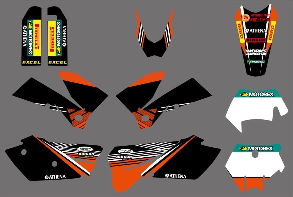Team Motorcycle Graphics Delcas Stickers For <font><b>KTM</b></font> 125 200 <font><b>250</b></font> 300 350 400 450 525 EXC <font><b>SXF</b></font> SX XC MXC 2005 2006 <font><b>2007</b></font> 3M New Sticker image
