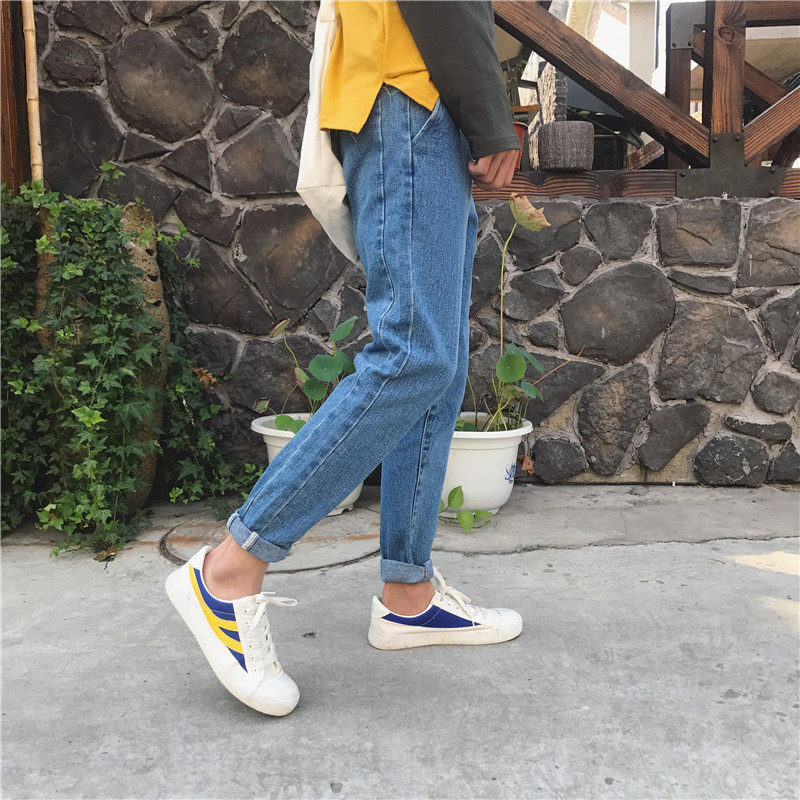 2018 New Men Fashion Casual Classic Blue Side Letter Embroidery Cowboy Trousers Stretch Jean Slim Fit Jeans Homme Denim Pants