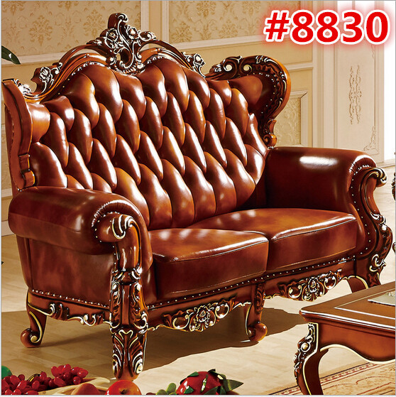 Luxury brown color wooden carved sofa set in living