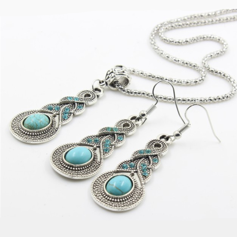 Sindlan Ethnic Wind Retro Fashion Bohemia Jewelry Boho Resin Charm Crystal Pendant Necklace Earrings Set For