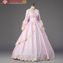 Georgian Pink Marie Antoinette Ball Gown Renaissance Holiday Dress Theater Clothing