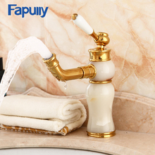Fapully Bathroom Basin Faucet Single Porcelain Handle Brass Jade Body Deck Mounted Mixer Tap Hot And Cold Taps Single Hole Sink стоимость