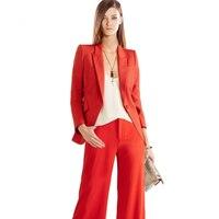 2 шт. красные костюмы Формальные Дамы Офис ПР единые конструкции для женщин Элегантный бизнес повседневная обувь куртка с мотобрюки наборы