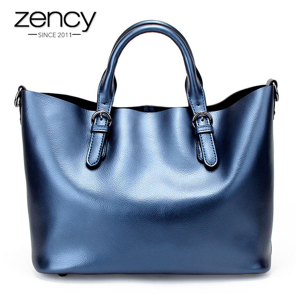 Zency 100% Genuine Leather Soft Skin Fashion Women Handbag Luxury Gold Silver Tote Bag Female Messenger Crossbody Purse Elegant