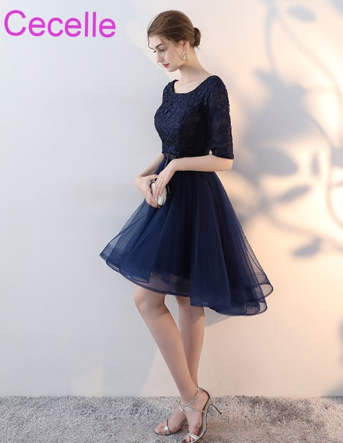 9a5f4827adc Navy Blue Hi Lo Short Modest Bridesmaid Dresses With Half Sleeves Lace Top  Tulle Skirt Women Wedding Party Dress Sleeved 2019