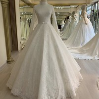 Cinderella High Neck Long Sleeves A Line Zipper Back Tulle Lace Applique Pearl Beaded Wedding Dresses With Bow vestido de noiva