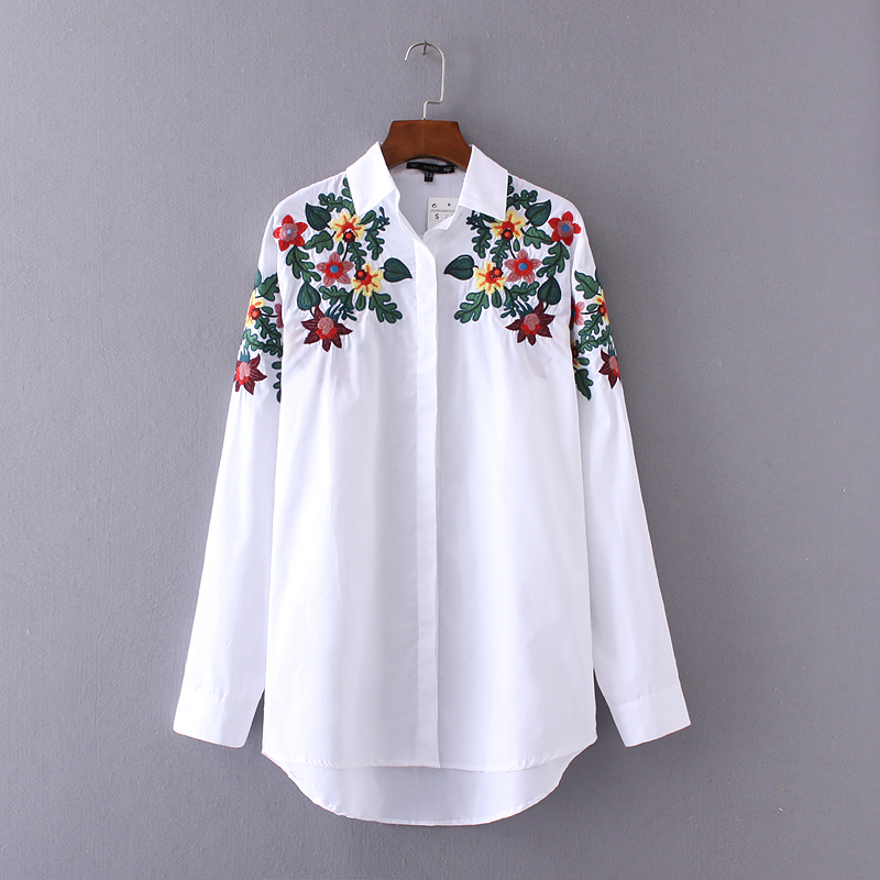 Spring women floral embroidery shoulders white loose