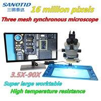 16 миллионов HD HDMI/USB три зеркала синхронный микроскоп Супер большой рабочий стол с высокой термостойкостью ремонт