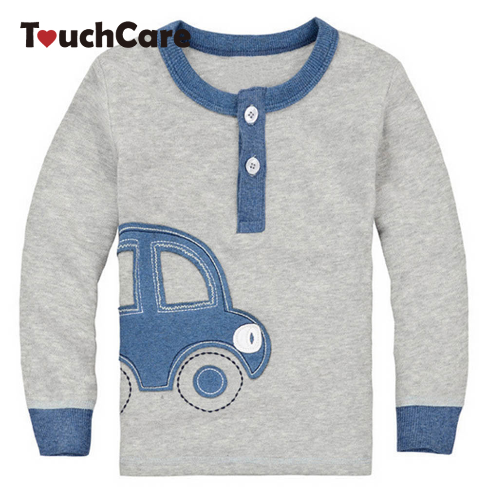 Clearance Cotton Spring Fall Car Design Kids Infant Clothing Children O-neck T-shirt Cut ...