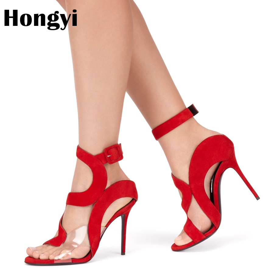 Hongyi Plus Size 35-42 Summer New Women Fashion Open Toe Suede Red Blue High Heel Sexy Sandals Ankle Wrap Dress Shoes