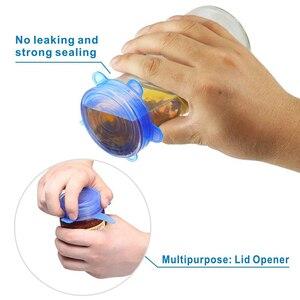 Image 5 - 6 Pcs סיליקון למתוח מכסים לשימוש חוזר אטום מזון לעטוף מכסה שמירה טרי חותם קערת נמתח גלישת כיסוי מטבח כלי בישול