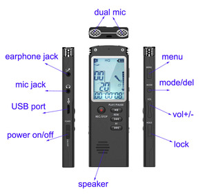 Image 4 - 003 Escytegr Draagbare Dictafoon 1536Kbps Voice Activated Opname Meeting/Lezing/Interview/Trial Music Play Voice Recorder