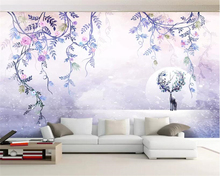 Beibehang Custom home background wall wallpaper romantic dream flower rattan deer sofa decorative 3d