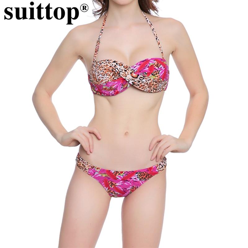 Buy Suittop Sexy Print Leopard Swimwear Two Piece Swimsuit Women Halter Bikini Set Bathing Suits Maillot De Bain Femme Swimming Suit