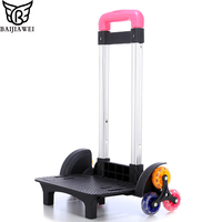 BAIJIAWEI Aluminum Luggage Trolley For Backpack Removable Folding Rod Six wheel Climb Staircase Trolley Frame For School Bag