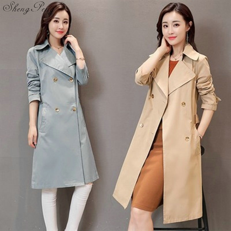 2018 new spring autumn fashion Casual women's khaki   Trench   Coat long Outerwear loose clothes for lady V826