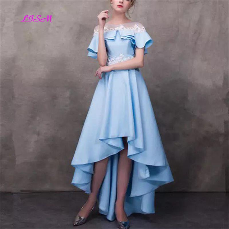 Sky Blue High Low Prom Dresses O-Neck Short Sleeves Chiffon Evening Party Gowns 2019 New Arrival Lace Ankle Length Party Dresses