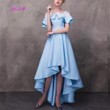 Sky Blue High Low Prom Dresses O-Neck Short Sleeves Chiffon Evening Party Gowns 2019 New Arrival Lace Ankle Length
