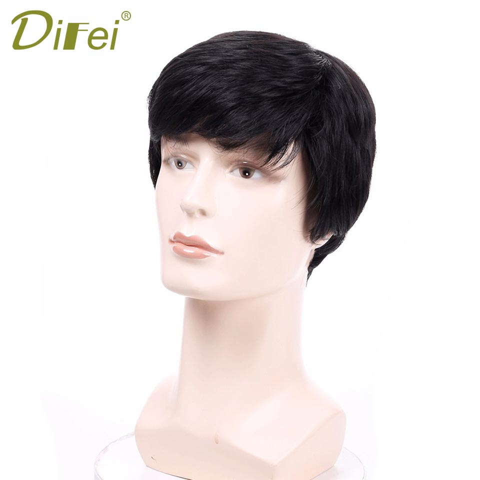 DIFEI Natural Men's Wigs Short Straight Synthetic Wigs For Men Heat Resistant Fake Hair Black Brown