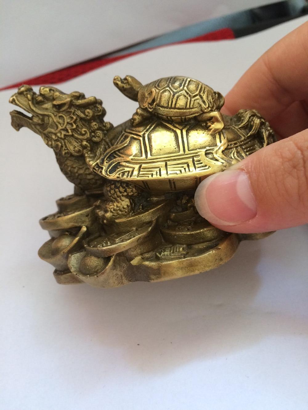 TNUKK chinois laiton richesse argent pièce lingot dragon tortue tortue longévité statue décoration - 5