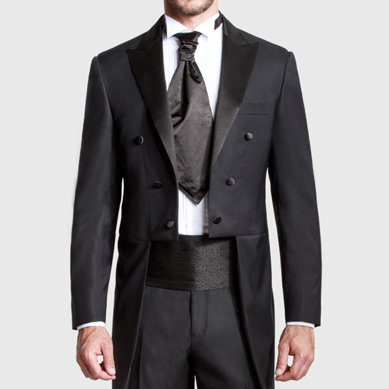 Custom Made Black Groom Tailcoat Pant mens Suits Peaked Lapel Long Tail Wedding Suits for men 2017 new Groom men suit Tuxedo|wedding suit|wedding suits for men|men suit - title=