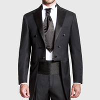 Custom Made Black Groom Tailcoat Pant mens Suits Peaked Lapel Long Tail Wedding Suits for men 2017 new Groom men suit Tuxedo