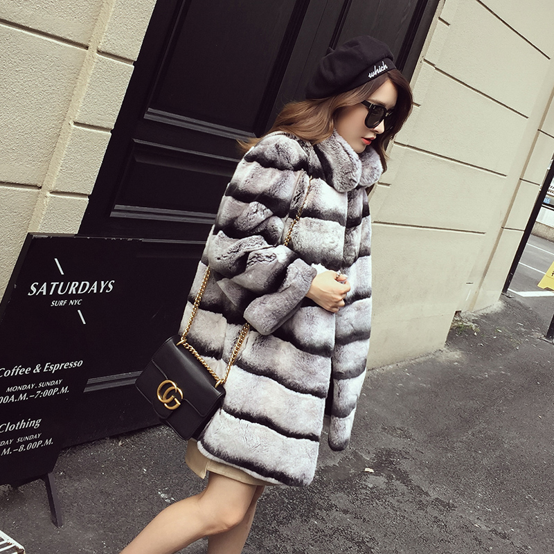 80cm Long Chinchilla Stripes Color Real Rex Rabbit Fur Coat /Grey Striped Outwear/Plus Size Custom Fur Coats Men Fur Garment