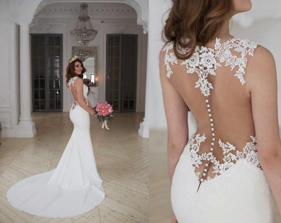 Elegant White/ivory Lace Wedding Dress Mermaid Sleeveless