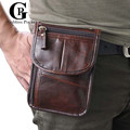 Cowhide! 7 Inches Black,Coffee Waist Packs For Men Belt Waist Bags Genuine Leather Man Small Shoulder Messenger Bags
