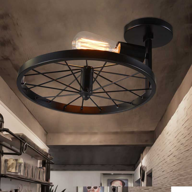 Loft Vintage Industry American Countryside Vehicle Wheel Edison Ceiling Plate Light Bar Dinning Room Home Decor Lighting Fixture lustre vintage industry american country loft edison ceiling lamp kitchen dinning living room modern home decor lighting fixture