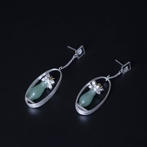 Image 2 - Flyleaf Natural jade Gold Flower Drop Earrings For Women 100% 925 Sterling Silver Chinese Style Vintage Jewelry