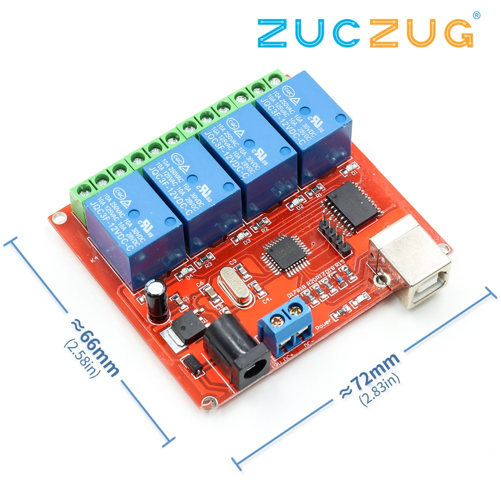 4 Channel DC 12V Computer USB Control Switch Drive Relay Module PC Intelligent Controller 4-way 12V Relay Module4 Channel DC 12V Computer USB Control Switch Drive Relay Module PC Intelligent Controller 4-way 12V Relay Module