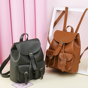 Image 2 - Vintage Women Leather Backpack Female Drawstring School Bag Black Rucksack Brand Shoulder Bags For Teenage Girls Backpacks XA27H