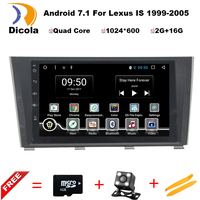 HD 1024*600 7 inch Quad Core Android 7.1 Aluminum alloy panel car dvd gps player for LEXUS IS Series 1999 2005 WITH GPS BT RDS
