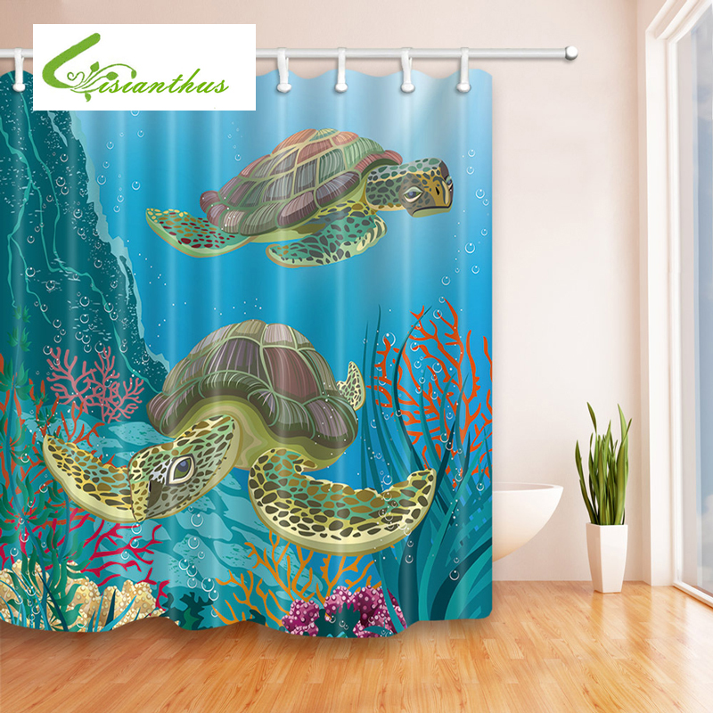 Buy mermaid bathroom curtain and get free shipping on for Best place to buy fabric for curtains