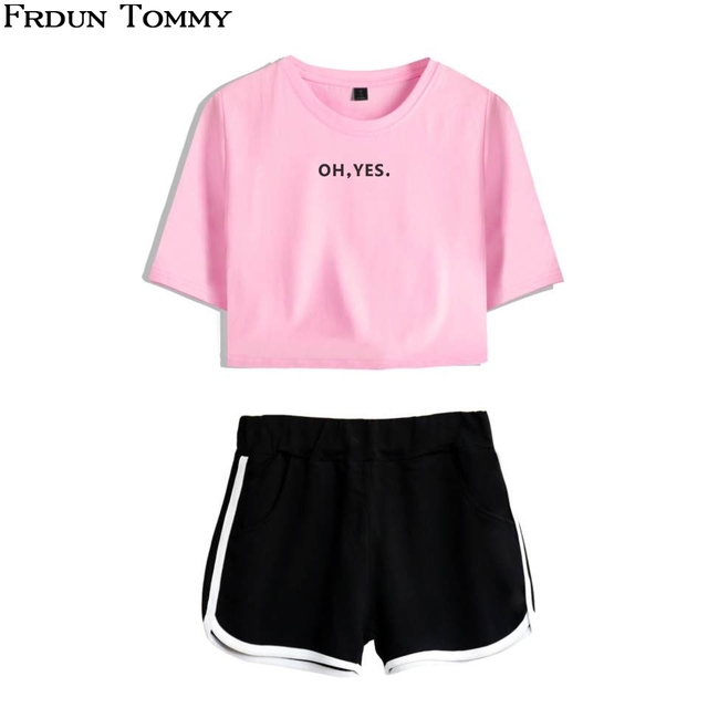 3836b5bc3 Frdun Tommy Hot Sale Kpop OH,YES/OH,NO Print Top Women Summer Shorts  T-shirt Women Clothes Fashion High Quality Casual Suit