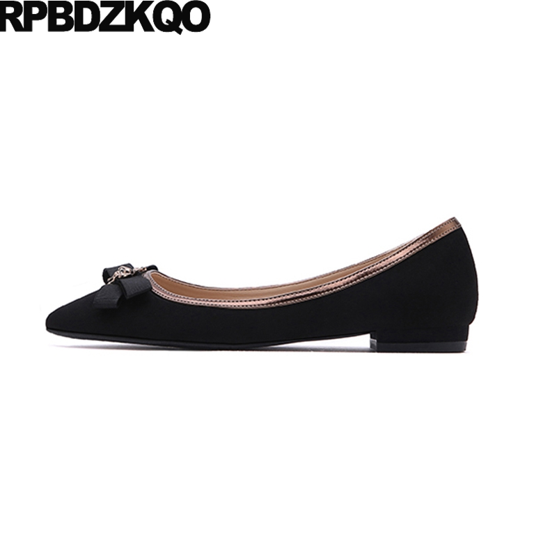 Shoes Chinese Comfortable Bow China Slip On Spring Autumn Black Metal Flats Bee Ladies Beautiful Pointed Toe Fashion European bow elastic round toe women slip on latest suede flats big designer shoes china chinese fashion beautiful european drop shipping
