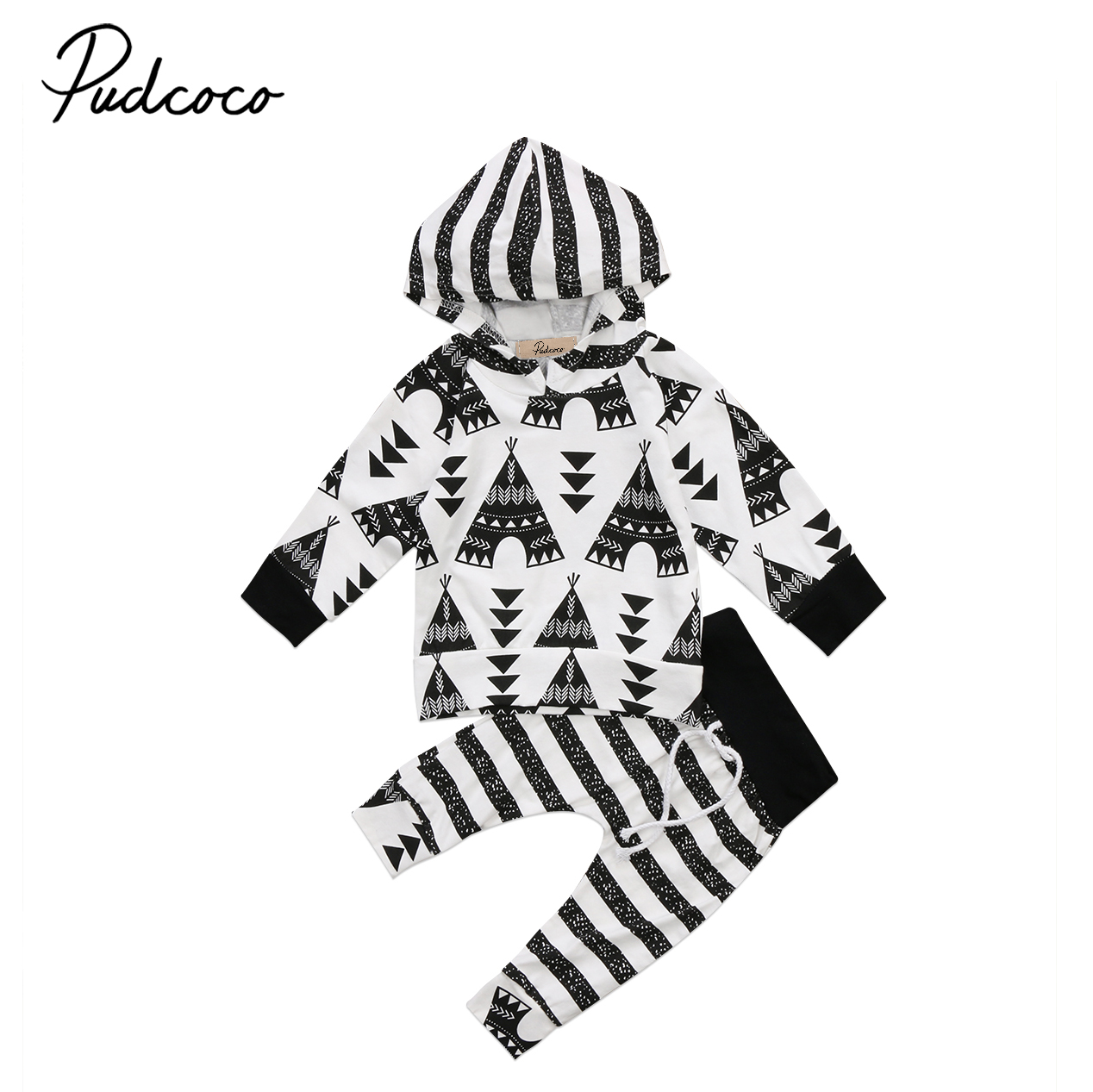 2Pcs Baby e Clothes set 2017 Toddler Baby Boy Girls Striped Hooded Hoodie Tops Sweatshirt+ Pants Clothes
