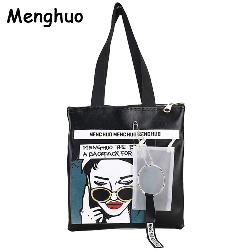Menghuo NEWEST PU Leather Hoop Female Handbag Autumn Bag Large Women Shoulder Bag Daily Hiphop Cool Women Bag Causal Ribbon Bag genuine leather female handbag autumn bag large size women shoulder bag daily vintage women bag causal bag