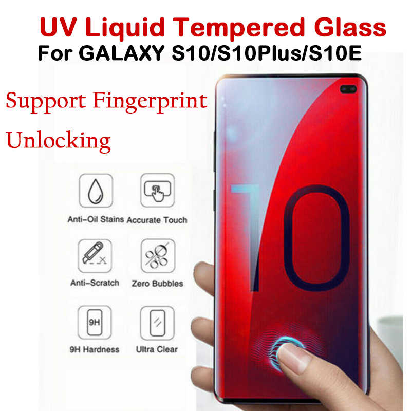 For Samsung Galaxy S10 S10 Plus S10E Full 3D UV Liquid Tempered Glass Full Glue Screen Protector Support Fingerprint Unlock Film
