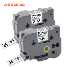 Absonic 2PCS 34mm Laminated TZe-151 Label Tape Black on Clear Compatible For Brother P-Touch PT-D600 PT-D600VP PT-P700 PT-P900W