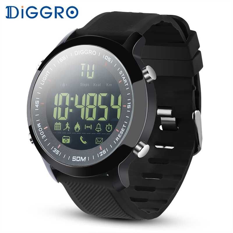 e44ac6765be Diggro EX18 Smart Watch Waterproof IP68 5ATM Passometer Message Reminder  Ultra-long Standby Swimming Sports