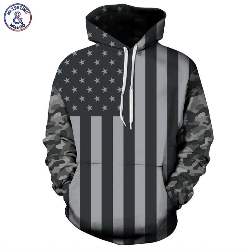 Mr 1991INC USA Flag Hoodies Men women 3d Sweatshirts Print Striped Stars America Flag Hooded Hoodies