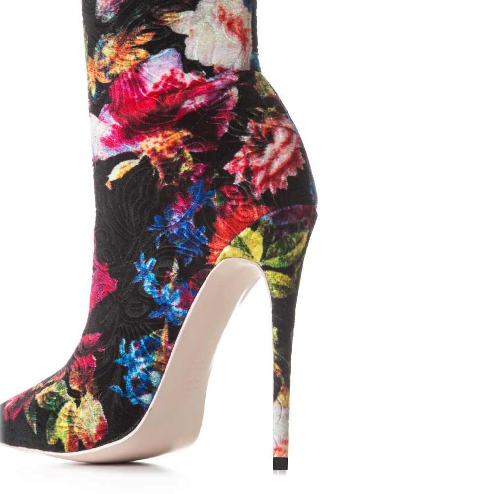 Arden Furtado 2018 ilkbahar sonbahar üzerinde kayma moda seksi stilettos topuklu çiçekler ayakkabı kadınlar bayanlar diz üzerinde çizmeler büyük boyutu 48