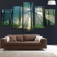 Forests Wall Decora For Living Room Home Office Artwork 5 Panels Wall Art Canvas Trees Paintings Landscape Art Wall Art Picture