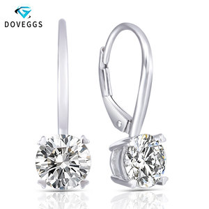 DovEggs 14K 585 White Gold 2CTW 6.5mm GH Color Clear Moissanite Hoop Earrings for Women Gift Gold Moissanite Diamond Earrings